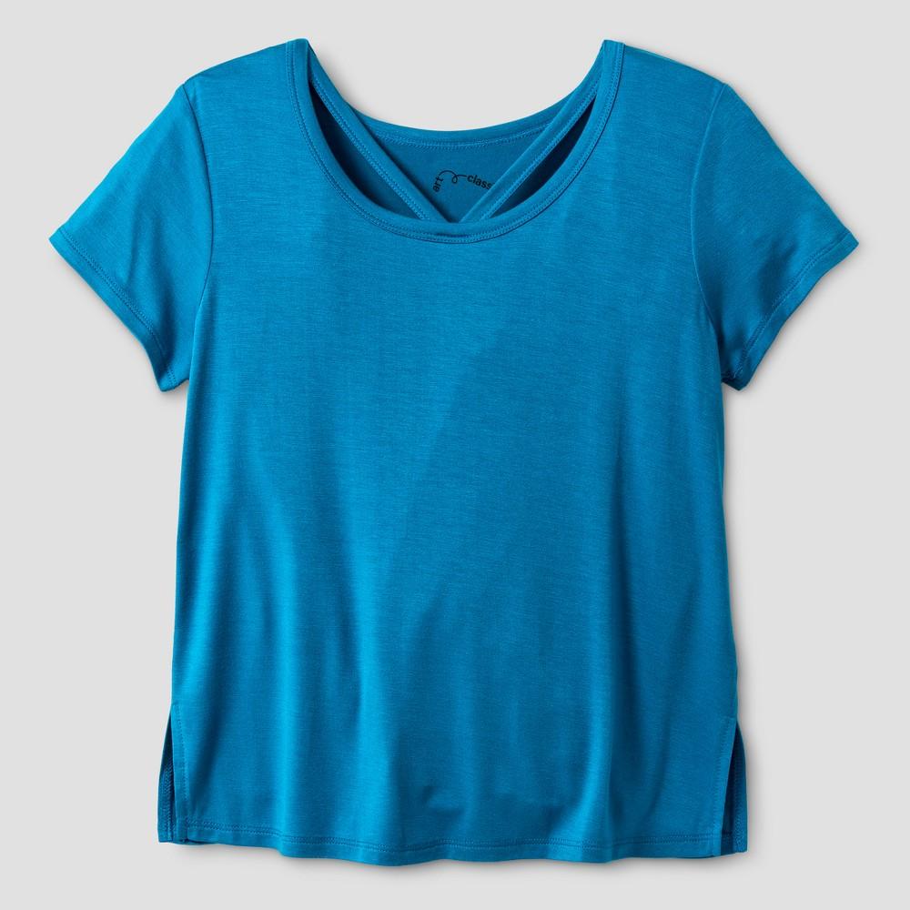 Girls Short Sleeve Bar Front T-Shirt - Art Class Terrific Turquoise S