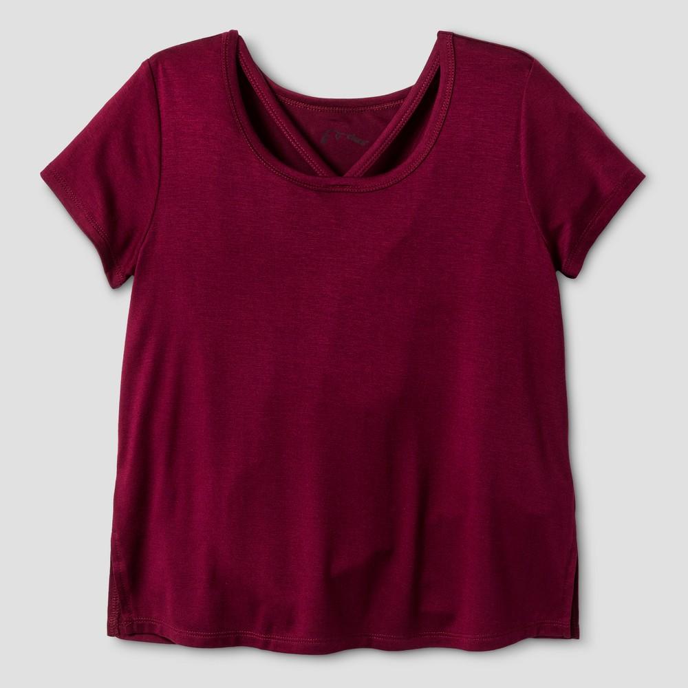 Girls Short Sleeve Bar Front T-Shirt - Art Class Burgundy (Red) XS