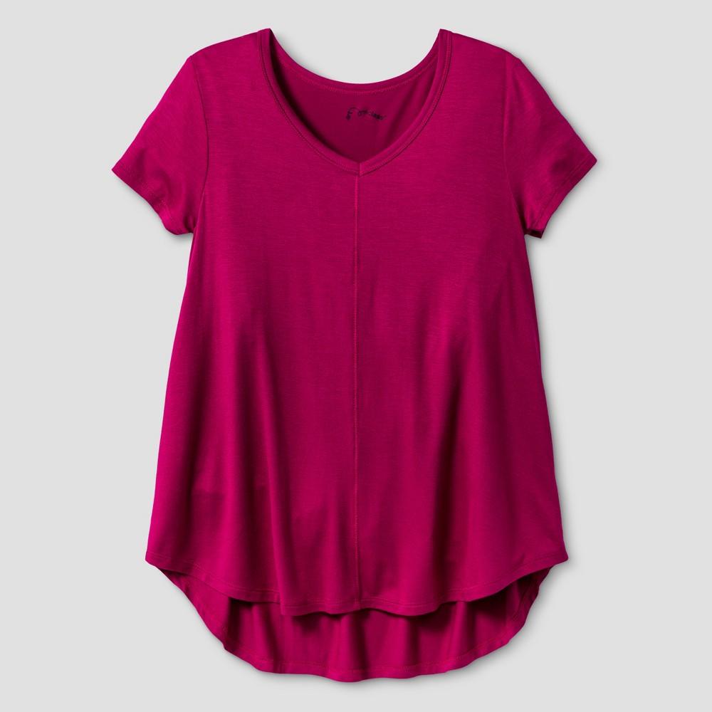 Girls Drapey V-Neck T-Shirt - Art Class Rich Magenta M