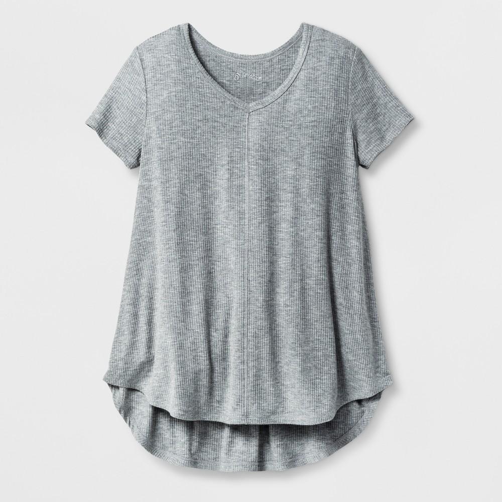 Girls Drapey V-Neck Ribbed T-Shirt - Art Class Heather Gray M
