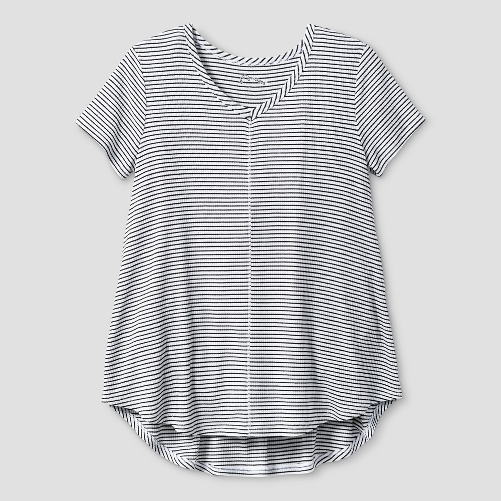 Girls' Drapey V-Neck Ribbed Striped T-Shirt - Art Class White/Black S