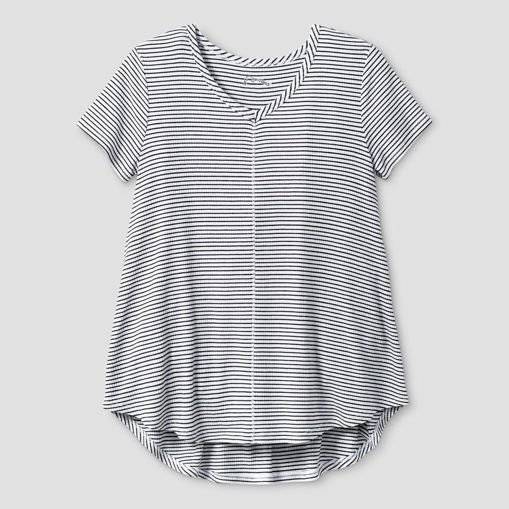 Girls Drapey V-Neck Ribbed Striped T-Shirt - Art Class White/Black S