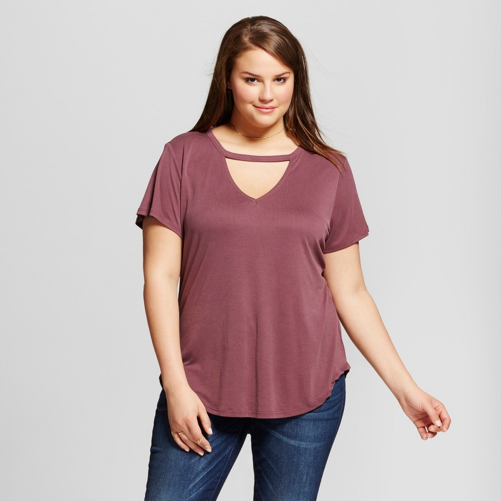 Womens Plus Size Choker V-Neck Fitted Top Purple 1X - Almost Famous (Juniors), Dark Plum