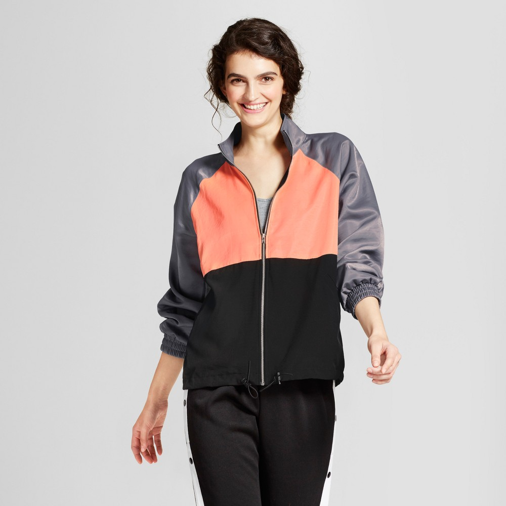 Womens Zip Up Jacket - Mossimo Supply Co. Black/Gray/Coral XS, Pink