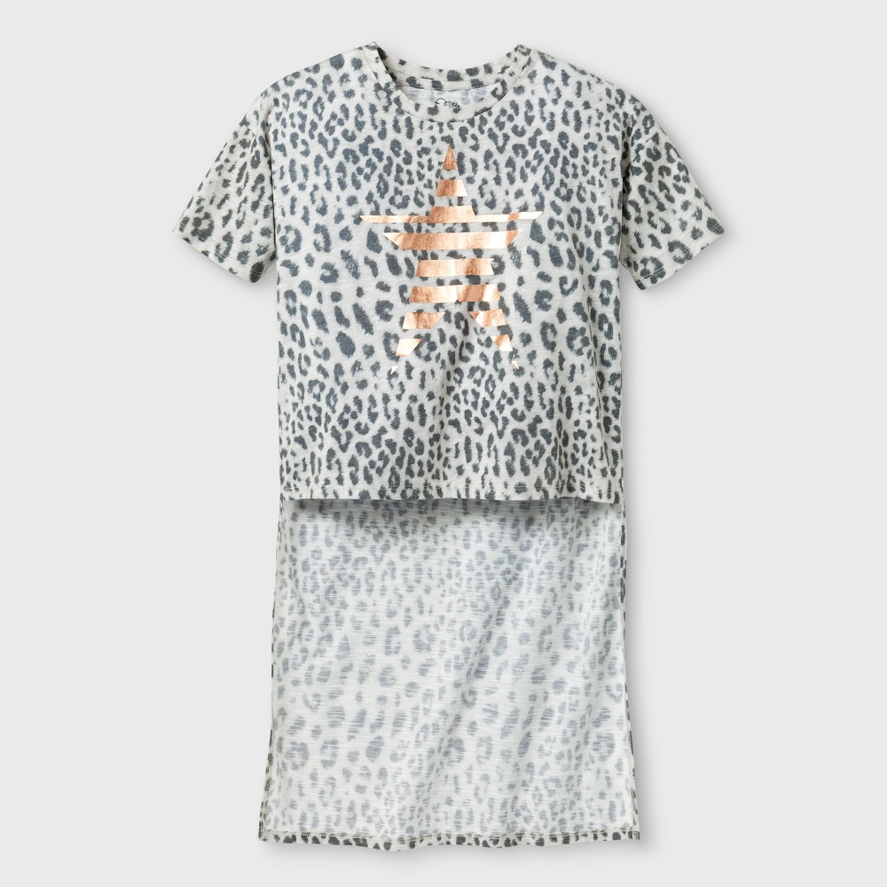 Girls Hi Lo T-Shirt - Art Class Black/White Leopard XS