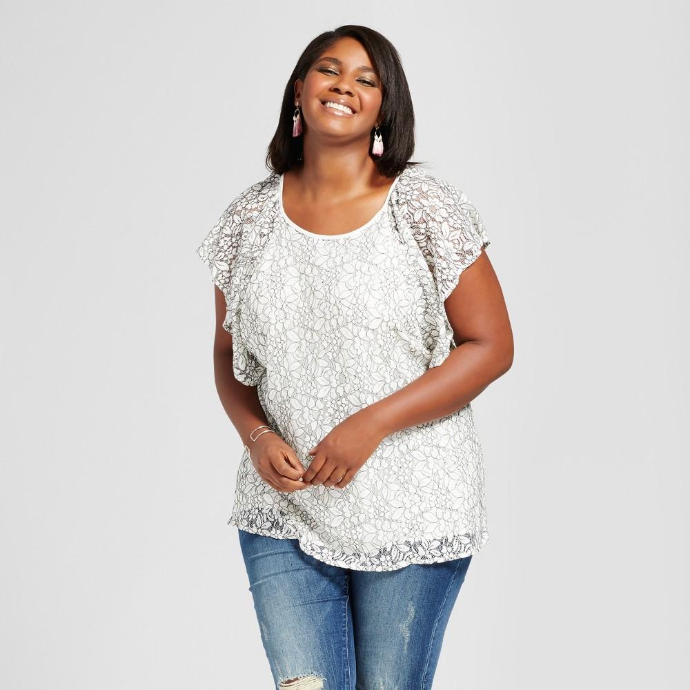 Womens Plus Size Lace Flutter Sleeve Top - Ava & Viv Cream 1X, White