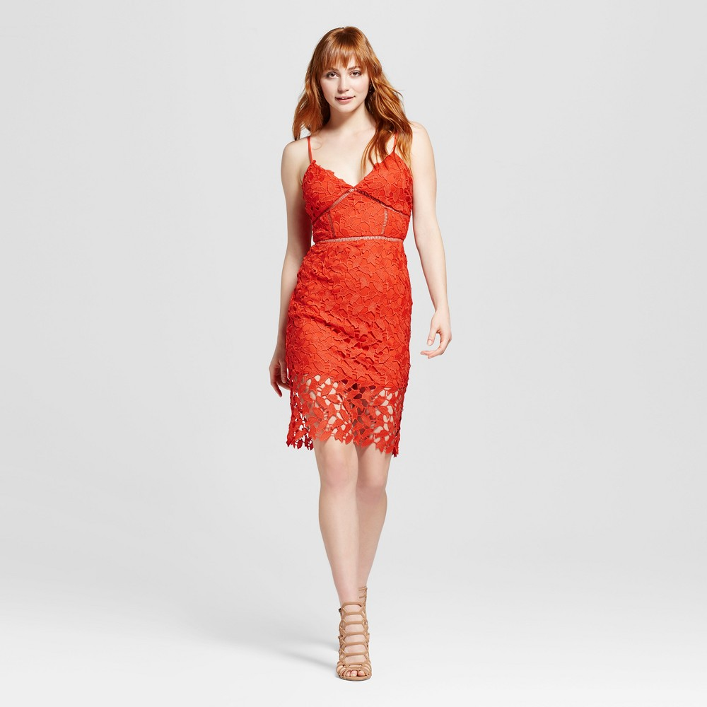Womens Lace Sheath Dress Bright Coral XS - Necessary Objects, Orange