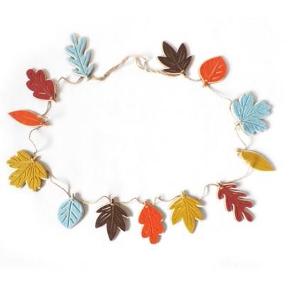 Harvest Wooden Wreath With Felt Leaf Garland