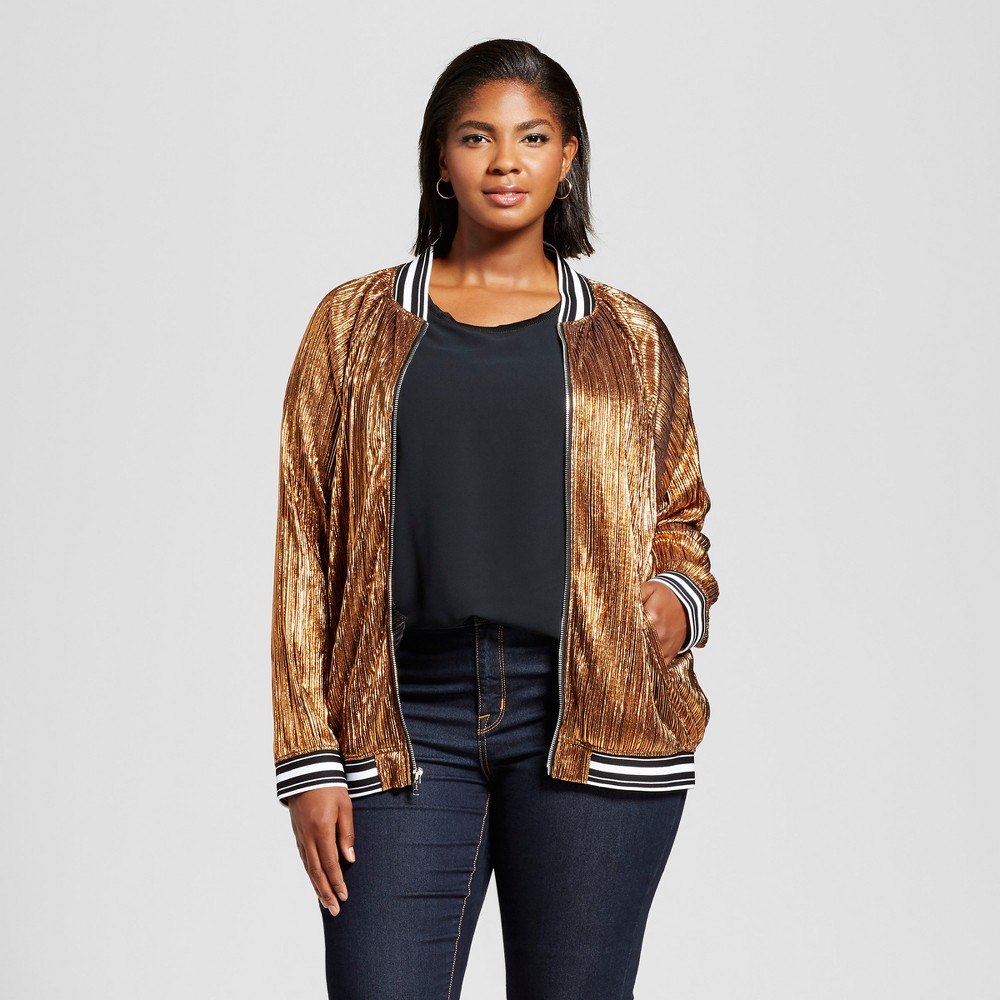 Womens Plus Size Pleated Metallic Bomber Jacket - Ava & Viv Copper (Brown) 3X