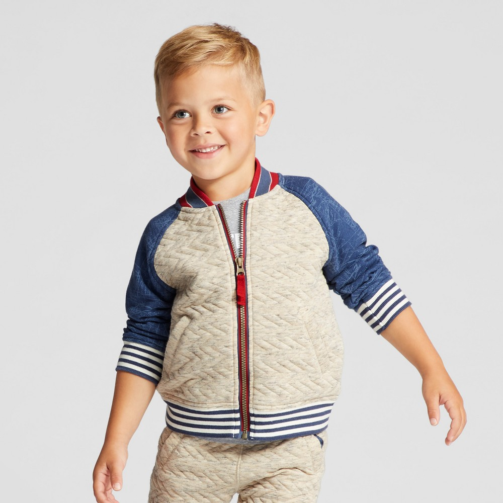 Toddler Boys Bomber Jacket - Genuine Kids from OshKosh Oatmeal 4T, Gray