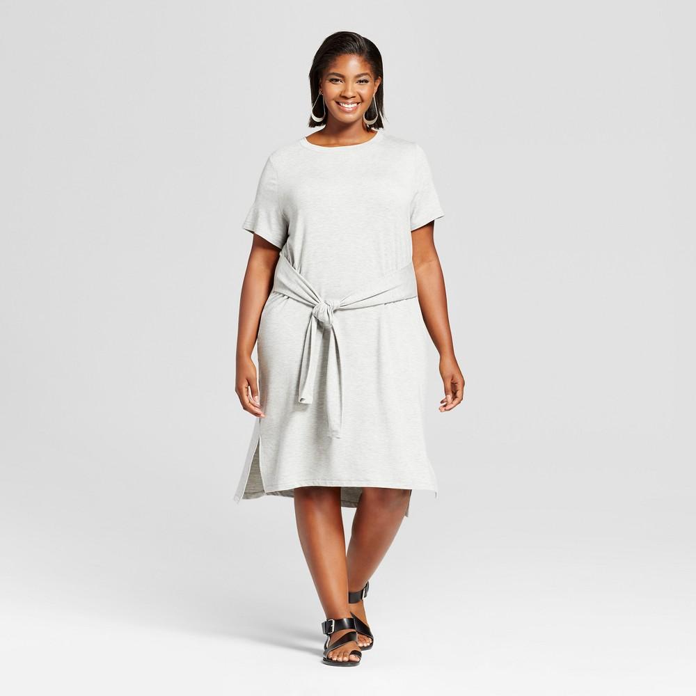 Womens Plus Size T-Shirt Dress with Sport Trim - Ava & Viv Gray 3X