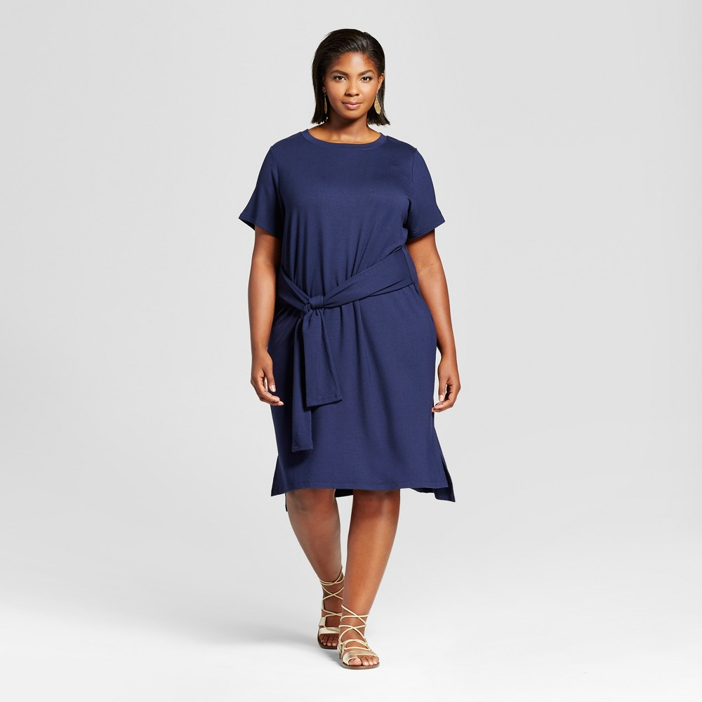 Womens Plus Size Tie Waist T-Shirt Dress - Ava & Viv Navy (Blue) 1X
