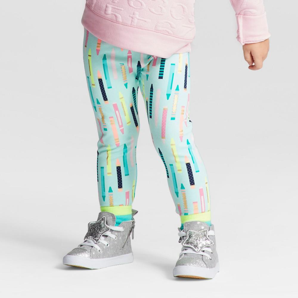 Toddler Girls Leggings Pants - Cat & Jack Aqua Float 5T, Green