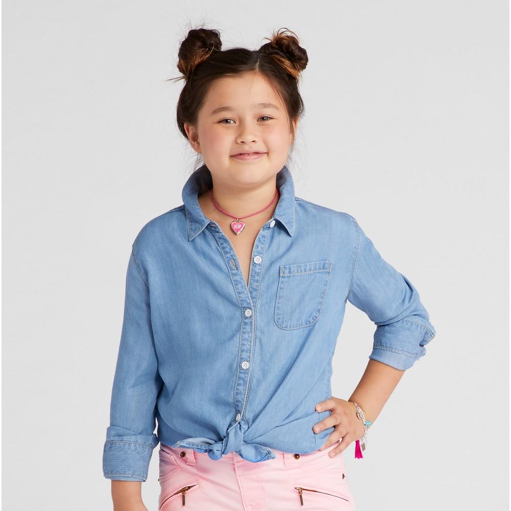 Girls Button Down Shirt- Cat & Jack Chambray M, Blue