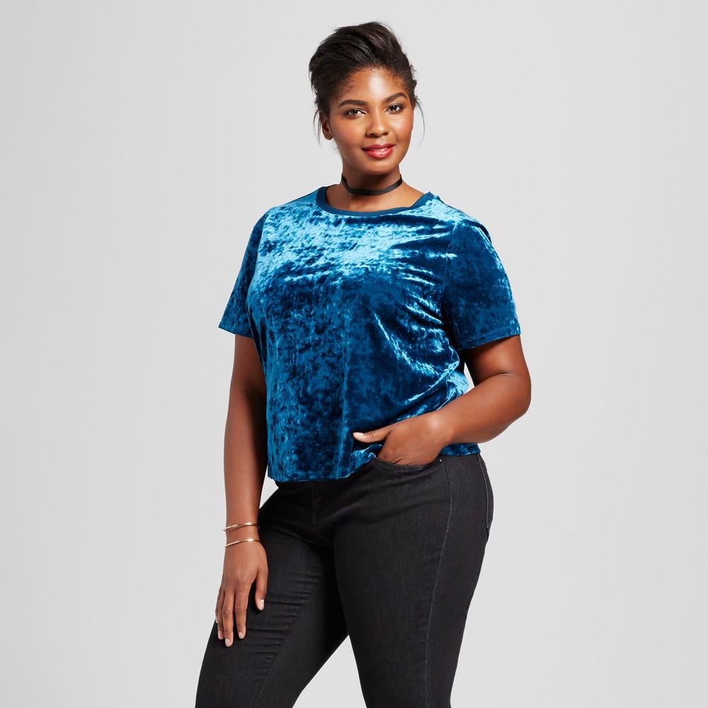 Womens Plus Size Crushed Velvet T-Shirt - Ava & Viv Deep Teal 4X