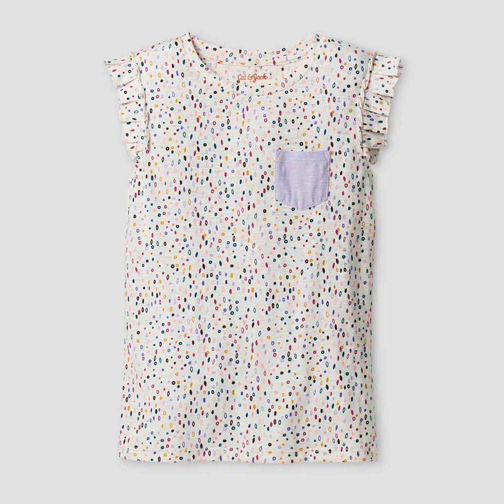 Girls Sleeveless Ruffle Pocket Dot T-Shirt - Cat & Jack XL, Multicolored