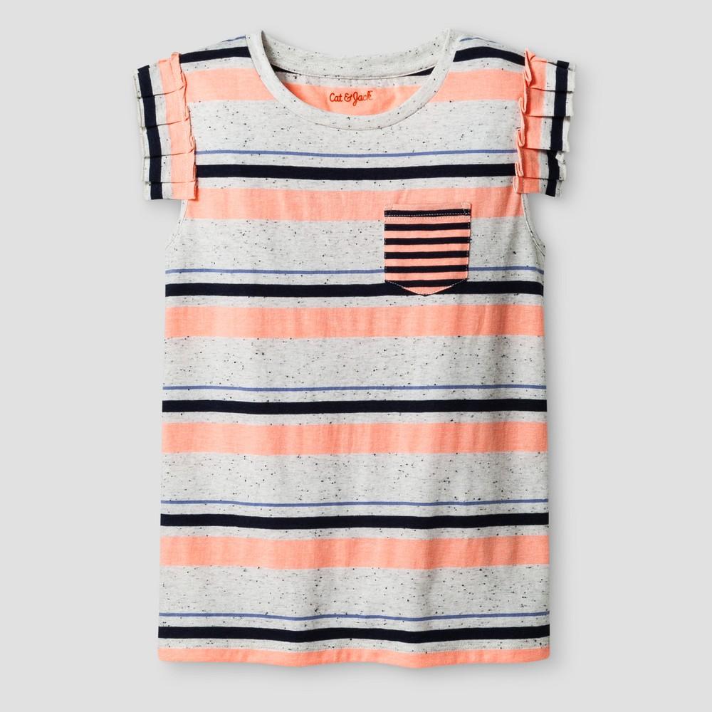 Girls Sleeveless Ruffle Pocket Stripe T-Shirt - Cat & Jack Coral L, Orange
