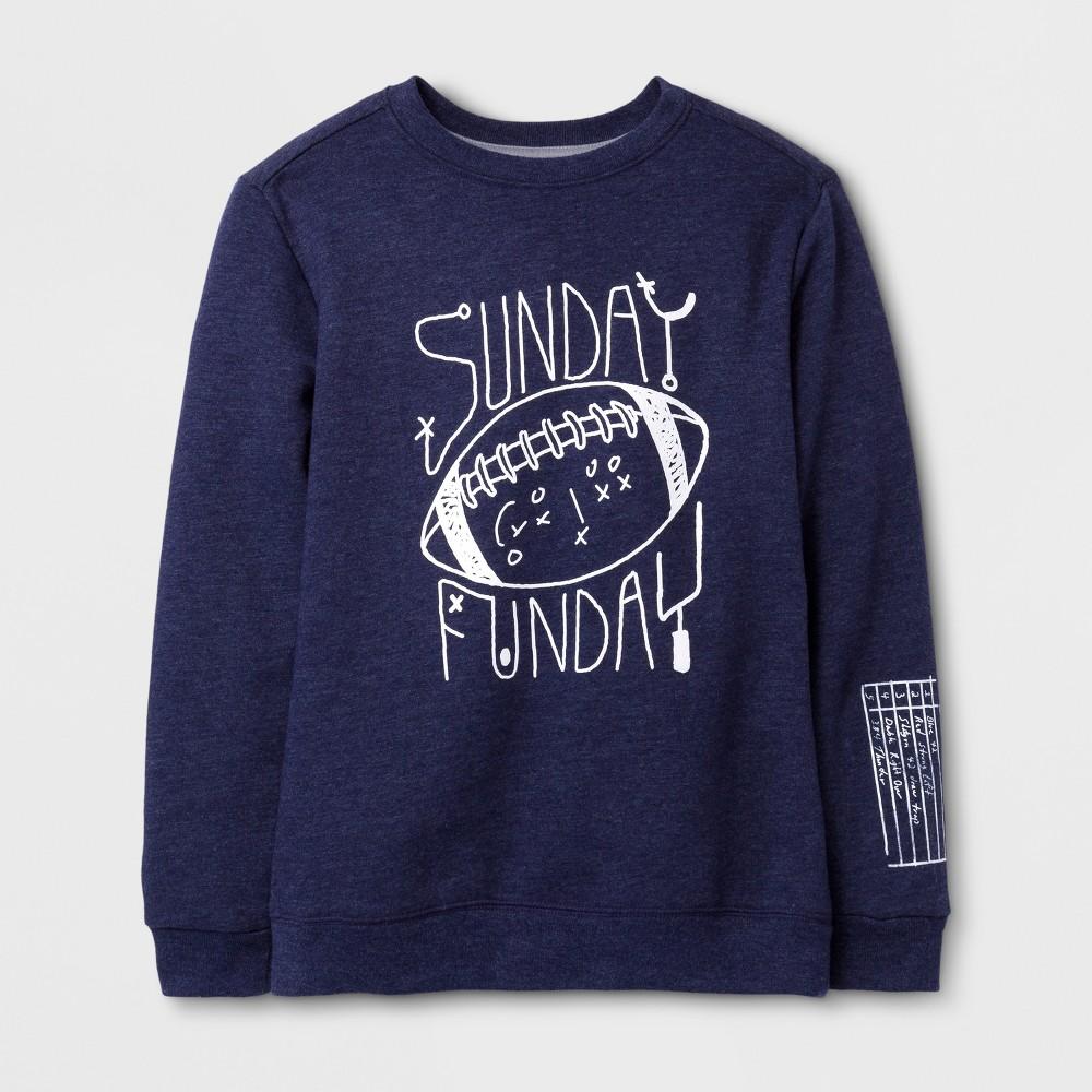 Boys Football Fleece Crewneck Sweatshirt - Cat & Jack Navy M, Blue
