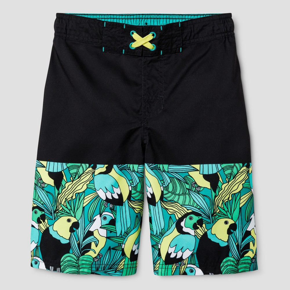 Boys Bird Print Swim Trunks - Cat & Jack Black/Turquoise M, Blue