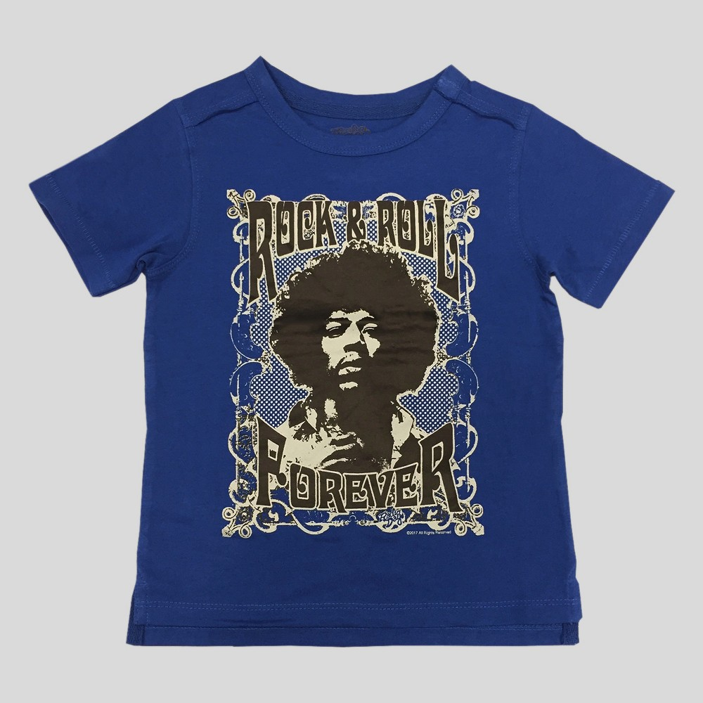 Toddler Boys Jimi Hendrix Rock And Roll Forever Short Sleeve T-Shirt - Blue 2T