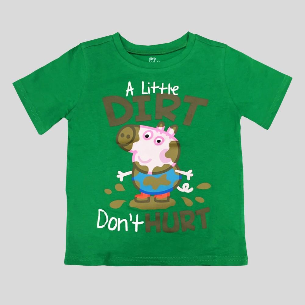 Toddler Boys Peppa Pig A Little Dirt Dont Hurt Short Sleeve T-Shirt - Green 4T