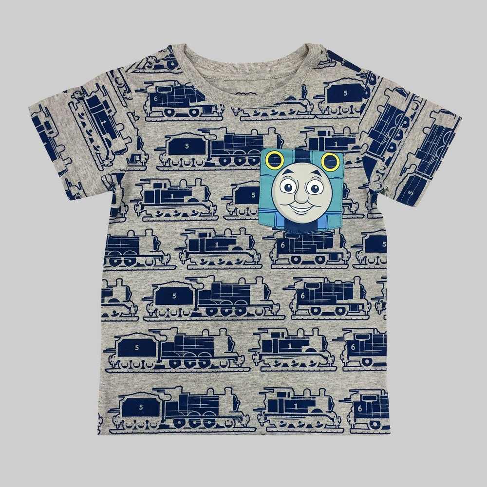 Toddler Boys Thomas And Friends With Thomas Pocket T-Shirt - Heather Gray 5T