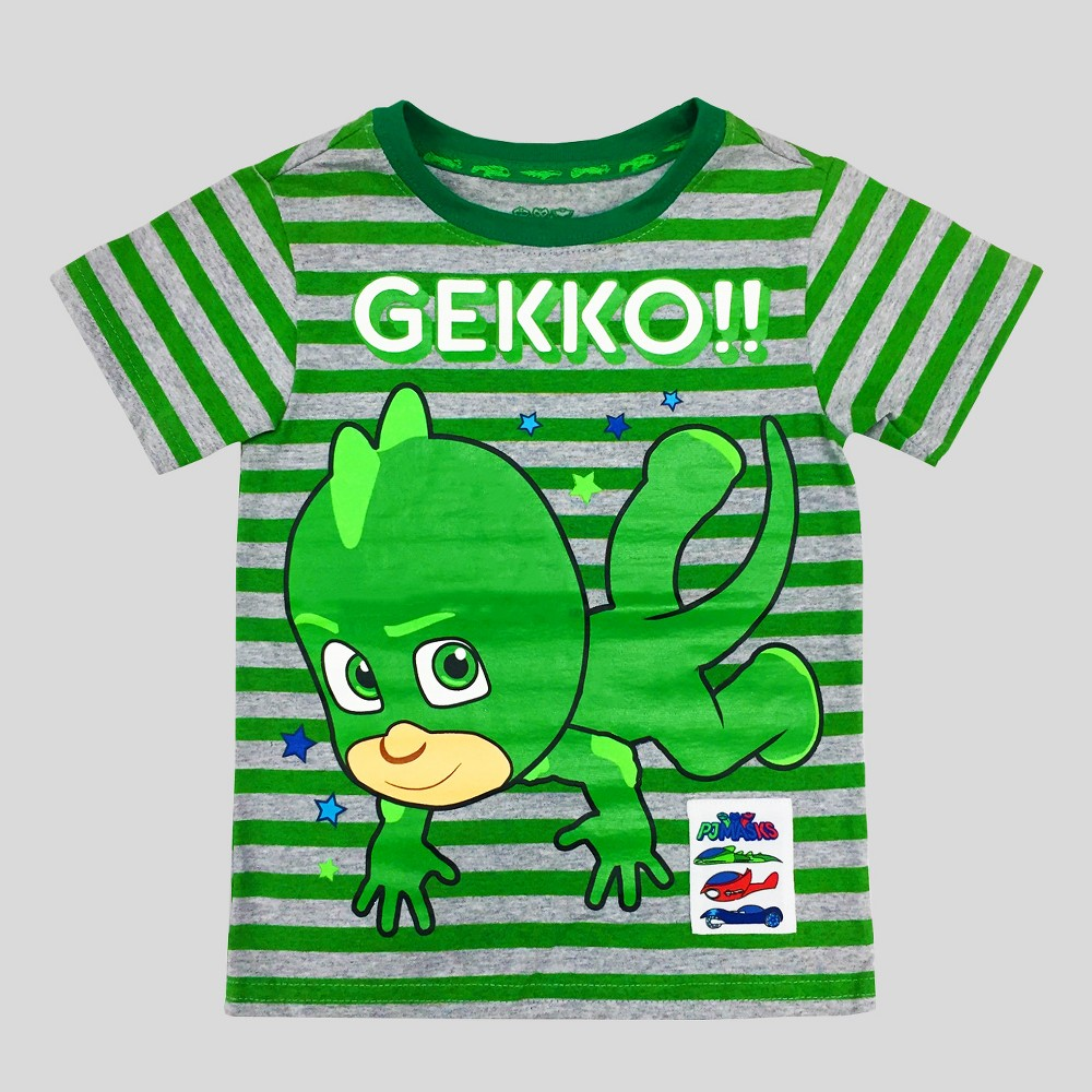 Toddler Boys PJ Masks Gekko Short Sleeve T-Shirt - Heather Gray 3T