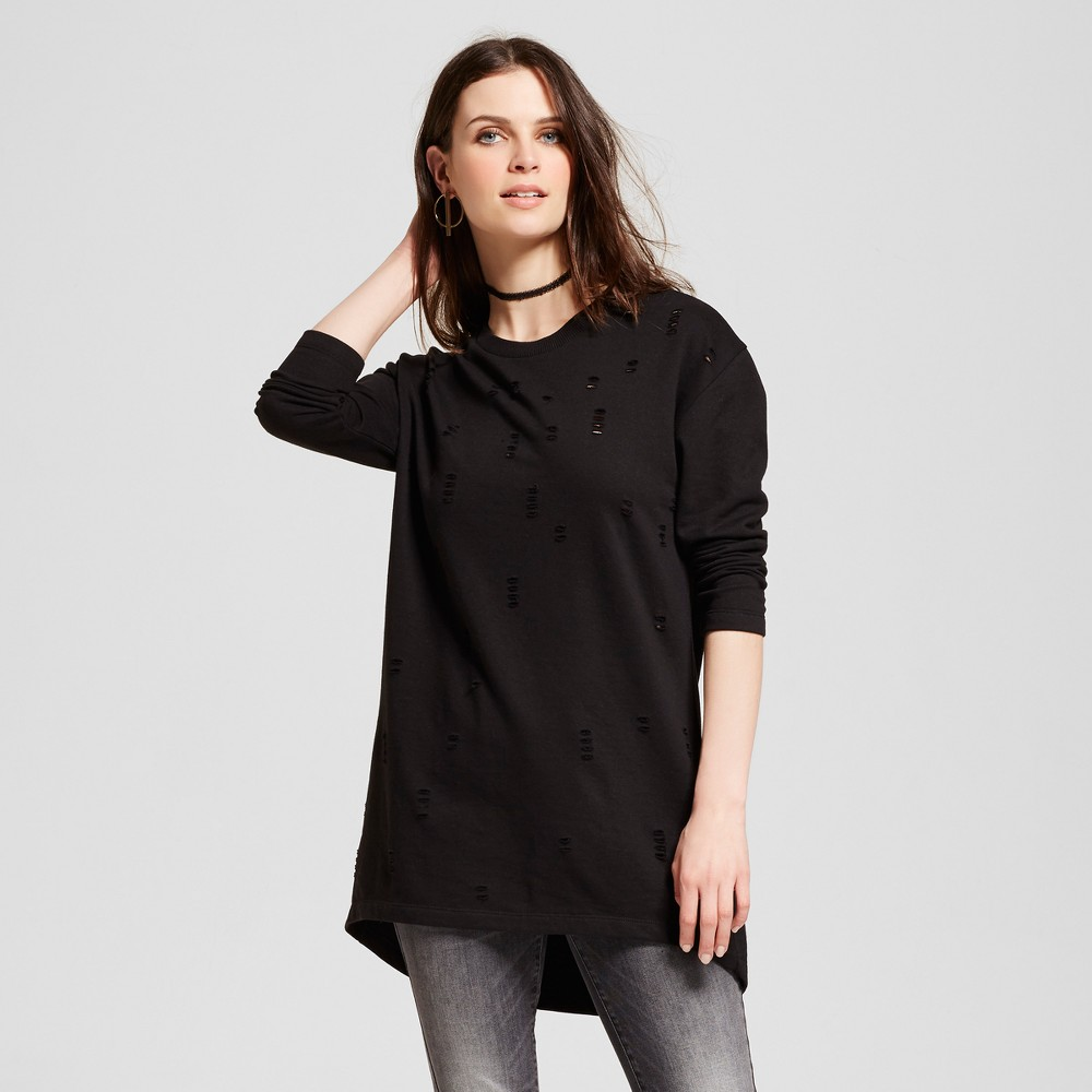 Women's Destructed French Terry Pullover Tunic Black XL - Alison Andrews