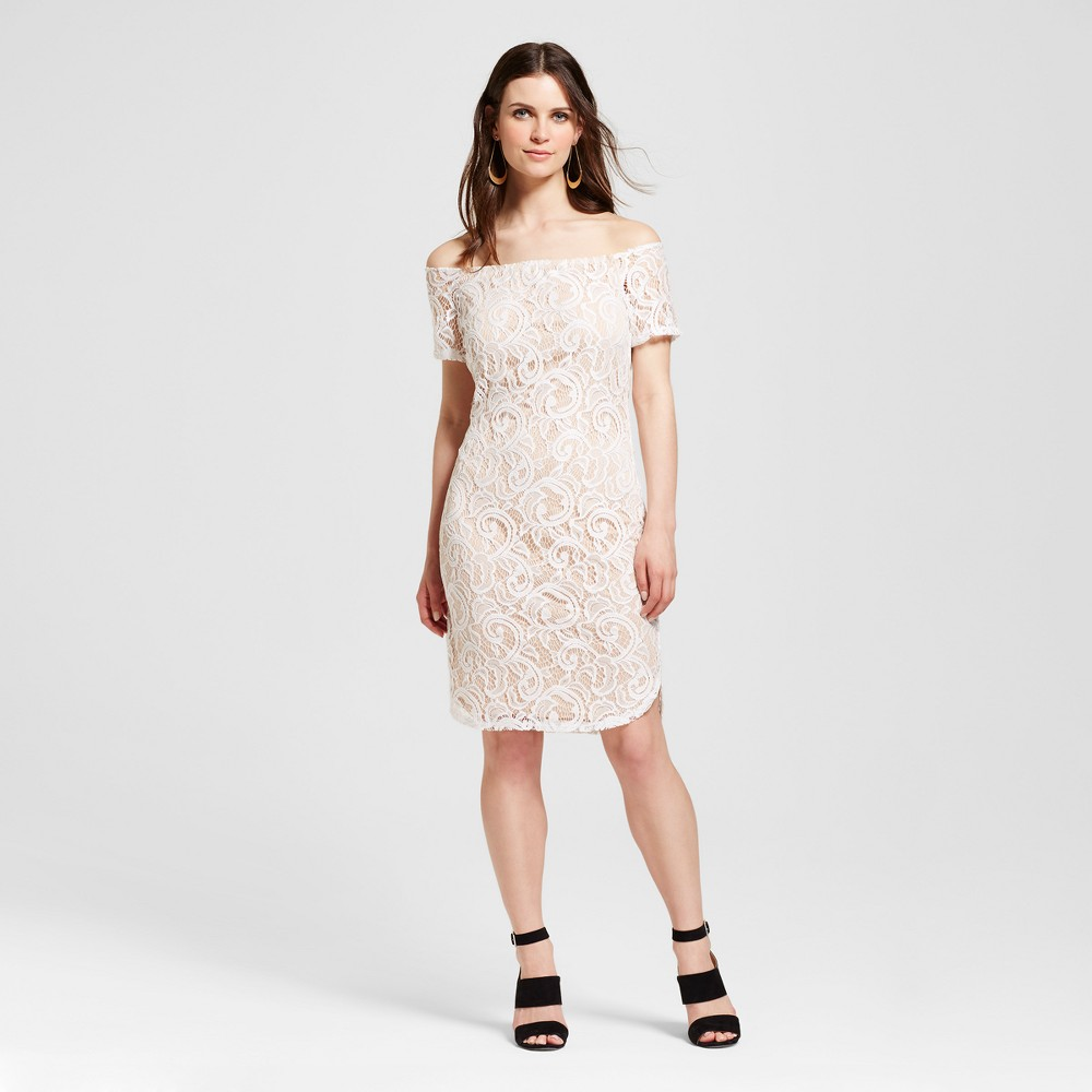 Women's Lace Off the Shoulder Dress White L - Alison Andrews