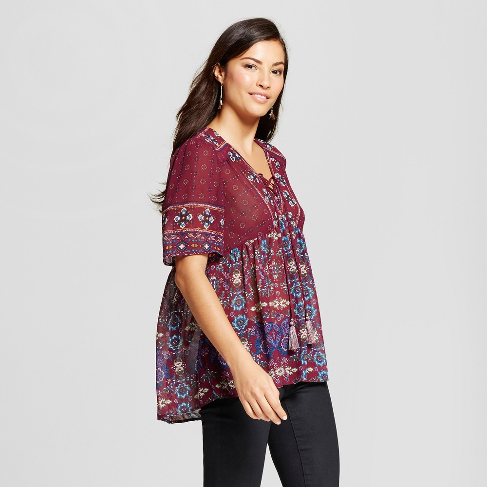 Womens Border Print Lace Up Peasant Top - Knox Rose Merlot XL, Purple