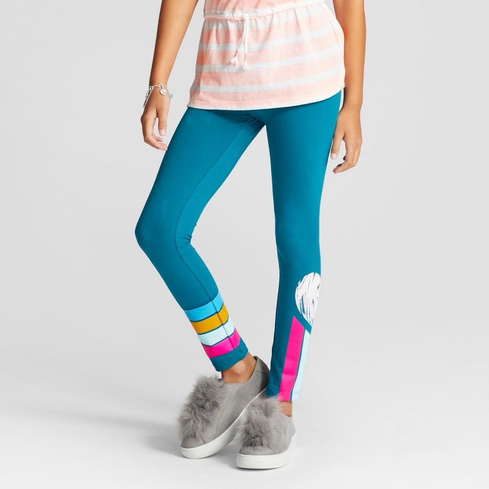 Girls Heart Print Favorite Leggings - Cat & Jack Teal XS, Blue