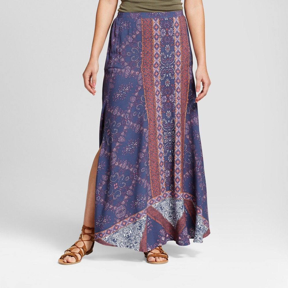 Womens Printed Side Slit Maxi Skirt - Knox Rose XL, Multicolored