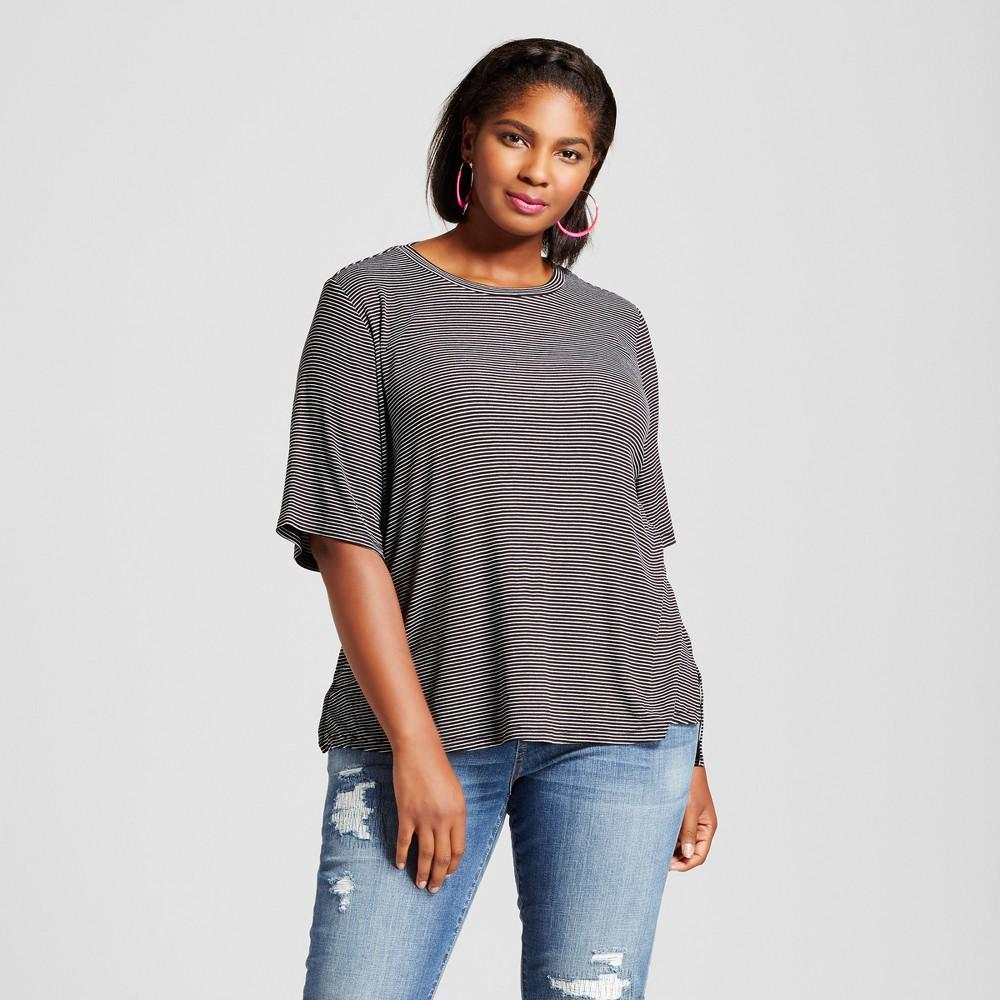 Womens Plus Size Ribbed Drapey T-Shirt Black Stripe - Ava & Viv Black/White Stripe X, Gray