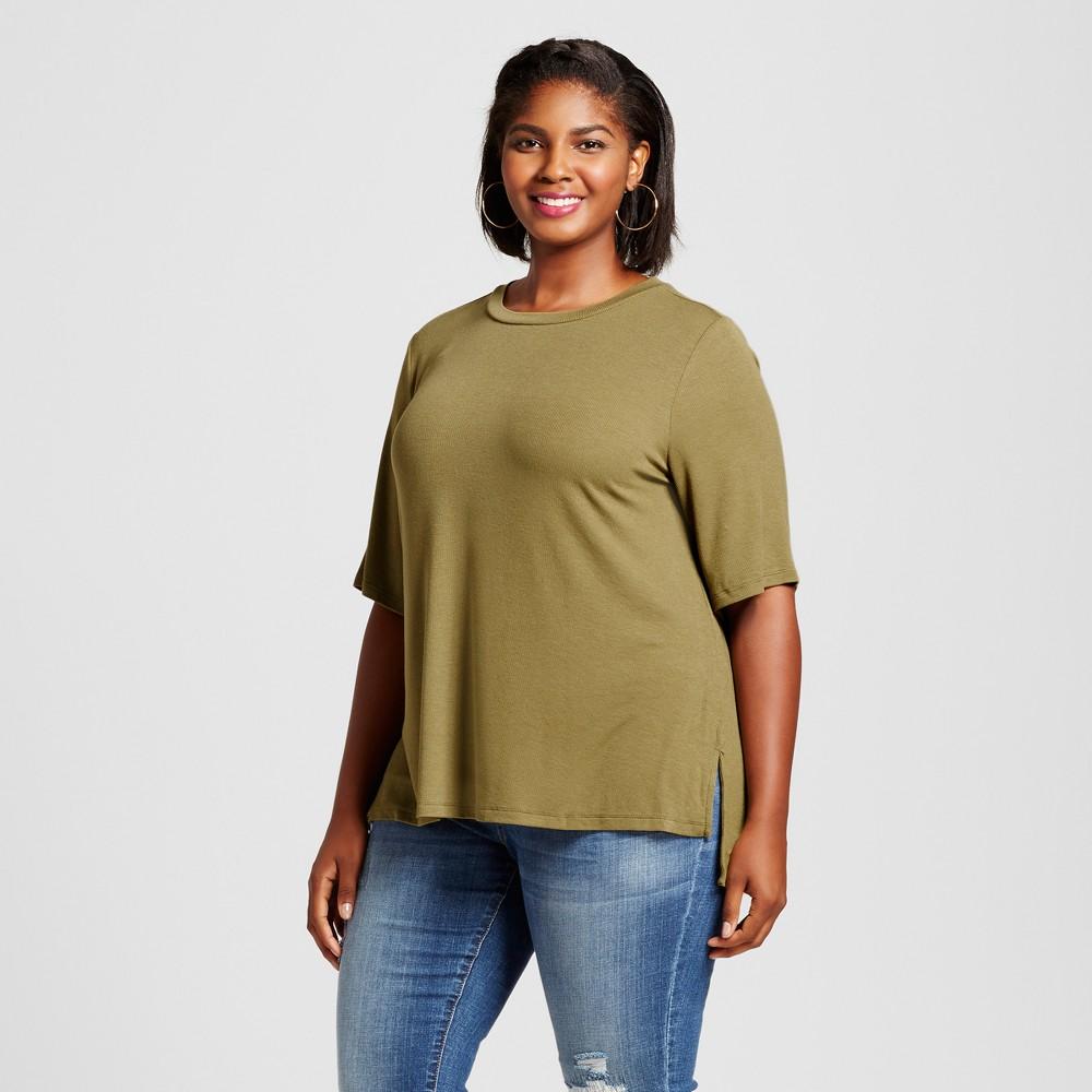 Womens Plus Size Ribbed Drapey T-Shirt - Ava & Viv Dried Oregano 3X, Green