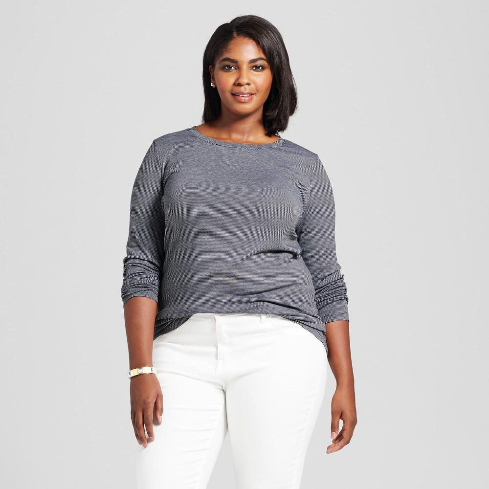 Womens Plus Size V-Neck Long Sleeve Striped T-Shirt - Ava & Viv Black/White 1X