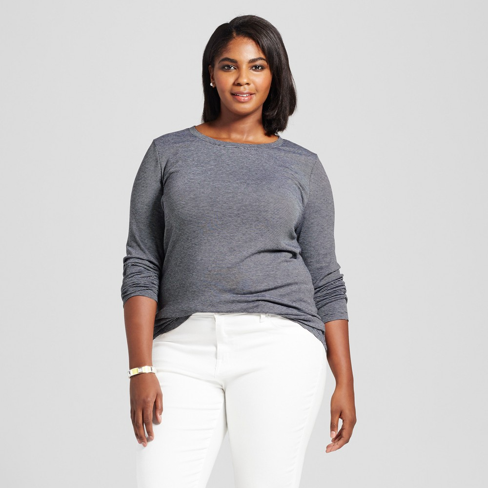 Womens Plus Size V-Neck Long Sleeve Striped T-Shirt - Ava & Viv Black/White 3X