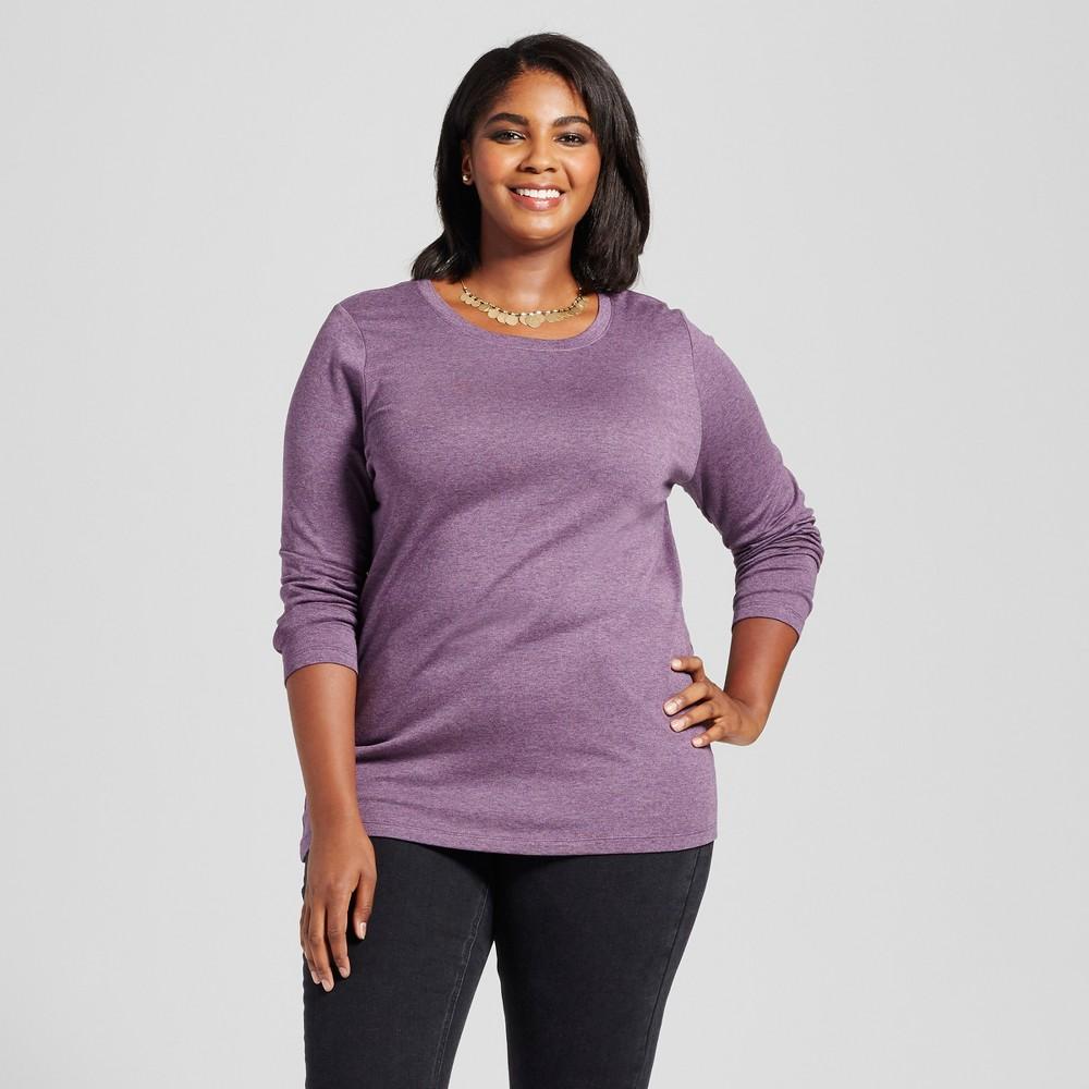 Womens Plus Size Crew Neck Long Sleeve T-Shirt - Ava & Viv Purple 1X