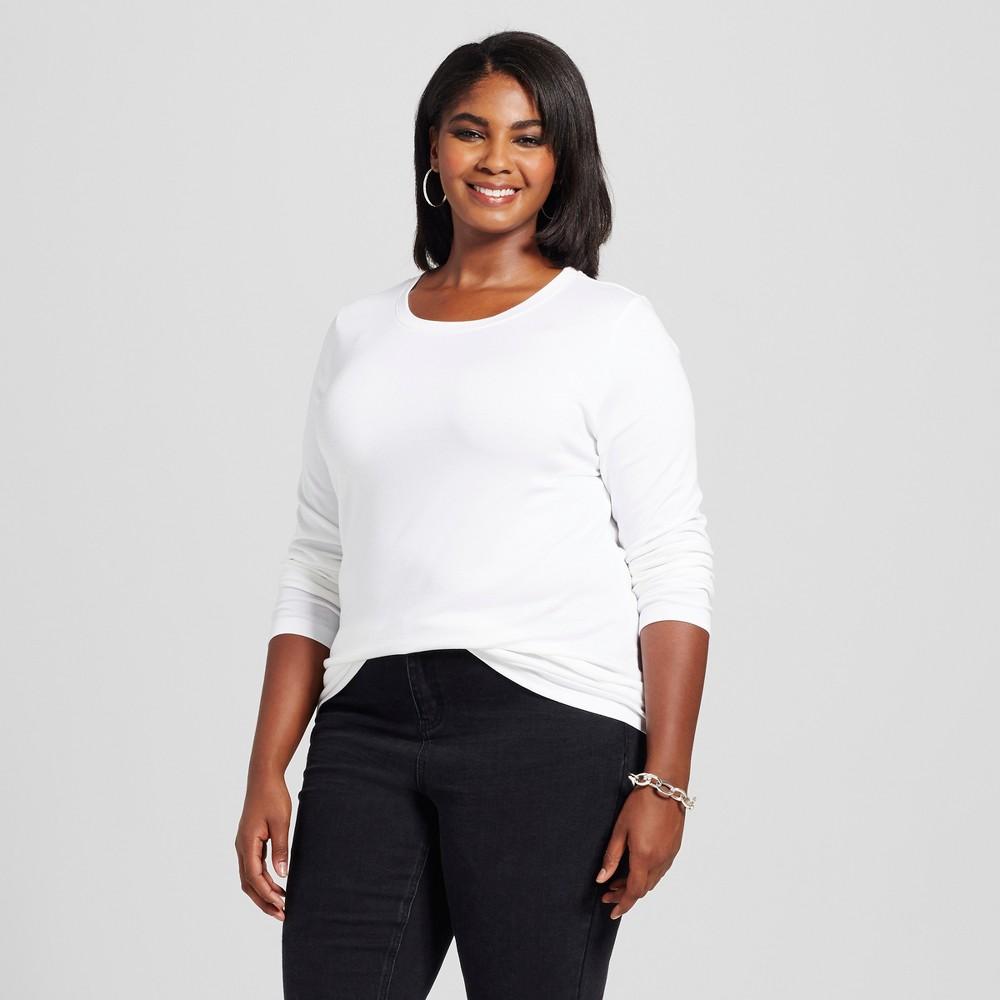 Womens Plus Size Crew Neck Long Sleeve T-Shirt - Ava & Viv White 1X