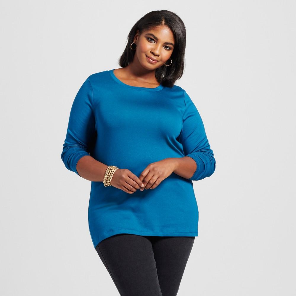 Womens Plus Size Crew Neck Long Sleeve T-Shirt - Ava & Viv Deep Teal 1X