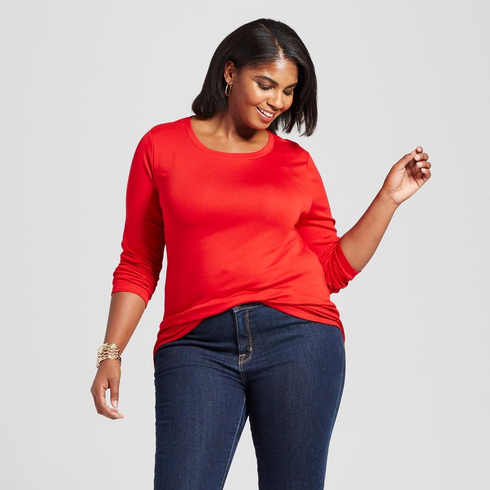 Womens Plus Size V-Neck Long Sleeve T-Shirt - Ava & Viv Ripe Red 2X