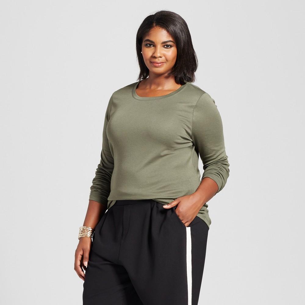 Womens Plus Size Crew Neck Long Sleeve T-Shirt- Ava & Viv Olive (Green) 1X