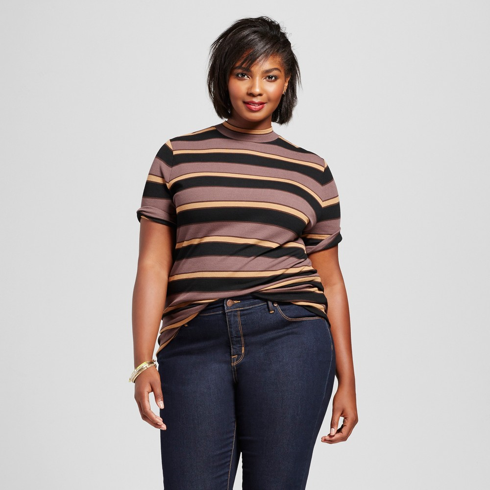 Womens Plus Size Ribbed Striped Mock Neck T-Shirt - Ava & Viv Neutral 1X, Beige