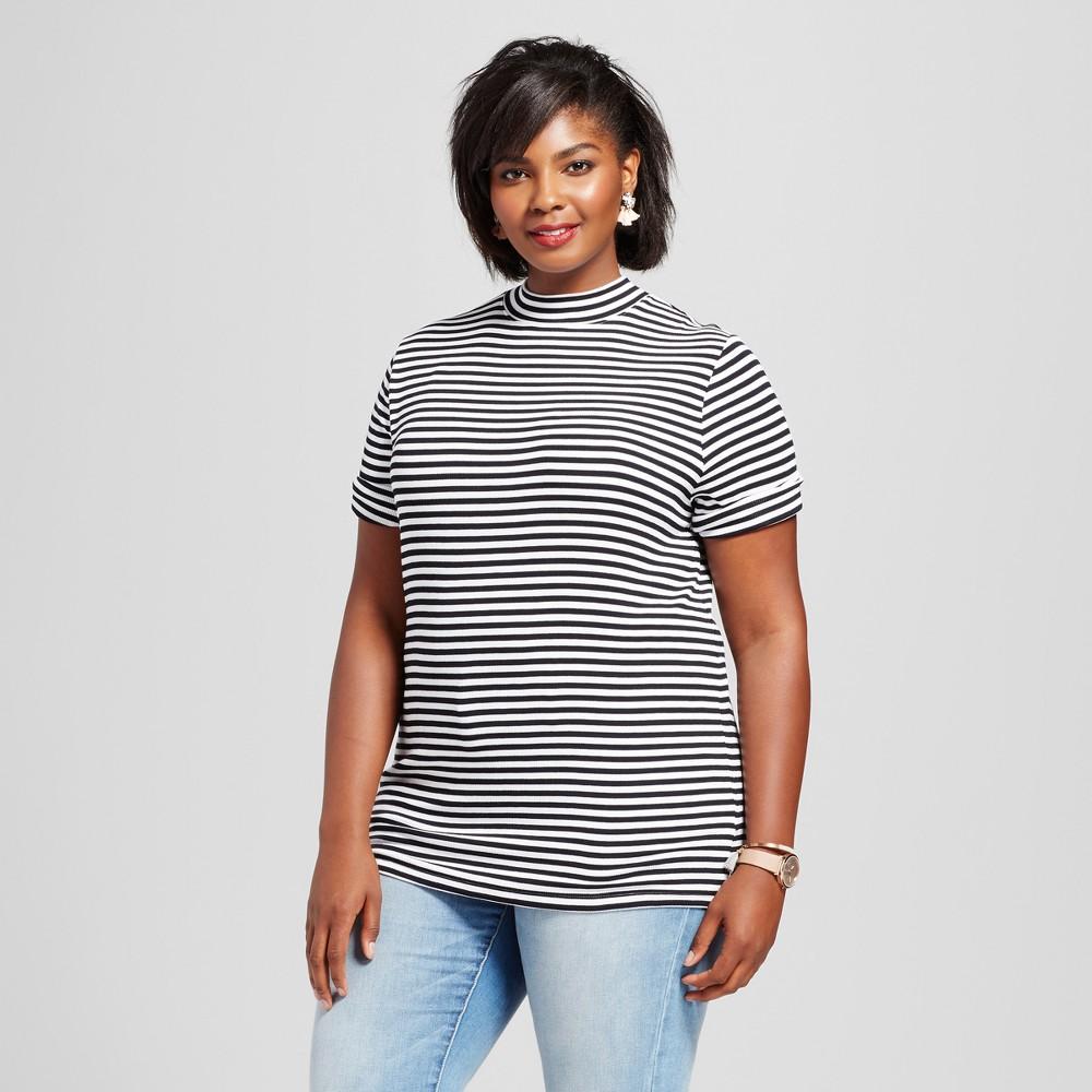 Womens Plus Size Ribbed Striped Mock Neck T-Shirt - Ava & Viv Black 4X