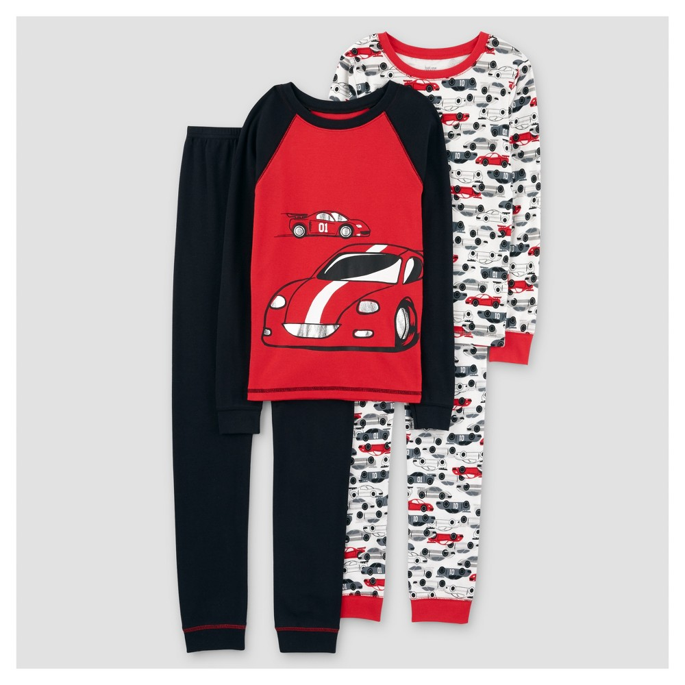 Boys 4pc Long Sleeve Racecars Cotton Pajama Set - Just One You Made by Carters Core Red Opaque 8