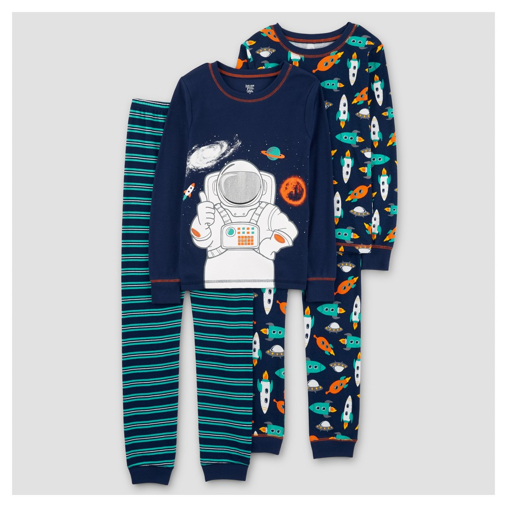 Boys 4pc Long Sleeve Astronaut Cotton Pajama Set - Just One You Made by Carters Amparo Blue 10