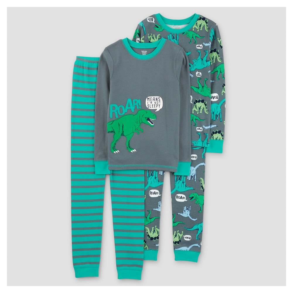 Boys' 4pc Long Sleeve Dinos Roar Cotton Pajama Set - Just One You Made by Carter's Flagstone Gray 12
