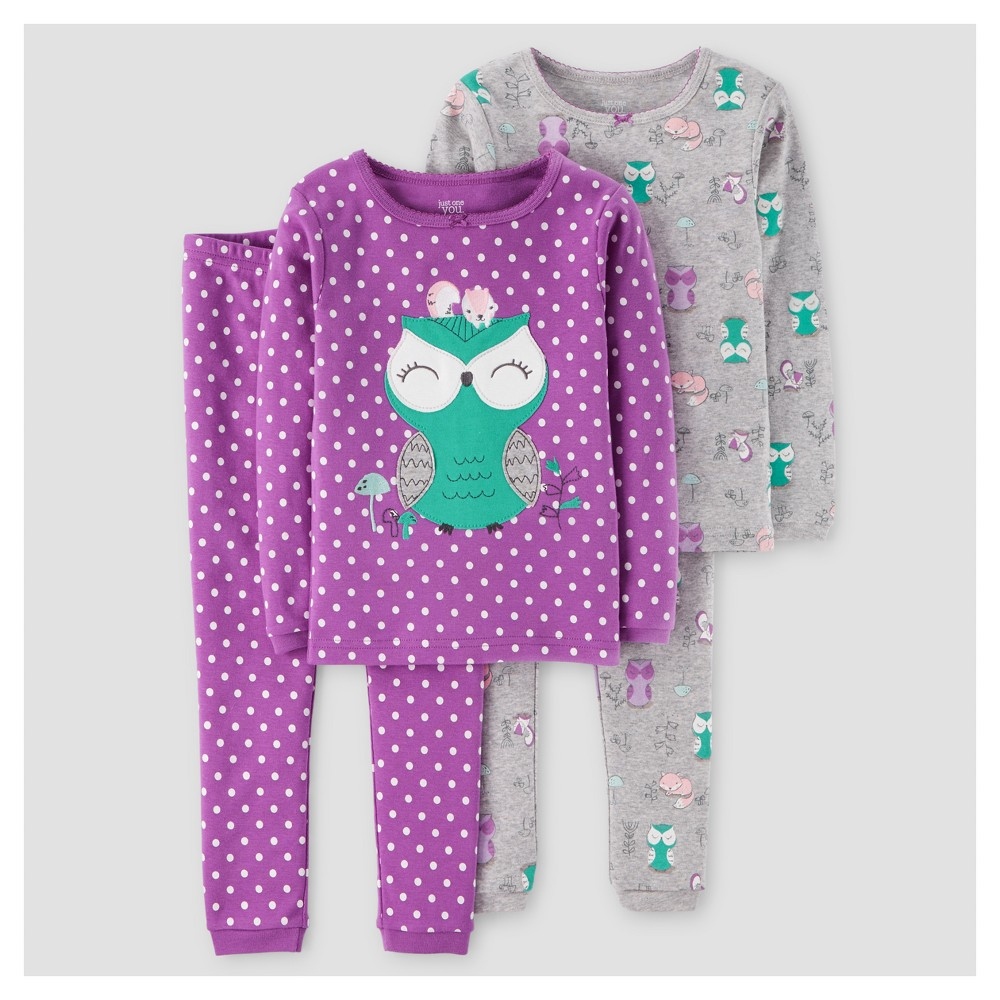 Girls 4pc Long Sleeve Polka Dots Owl Cotton Pajama Set - Just One You Made by Carters Exact Violet 6, Purple