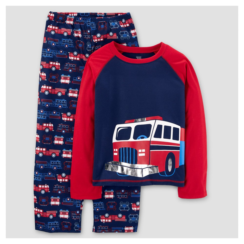 Boys 2pc Long Sleeve Poly Rescue Vehicles Pajama Set - Just One You Made by Carters Cayenne Opaque 7, Red