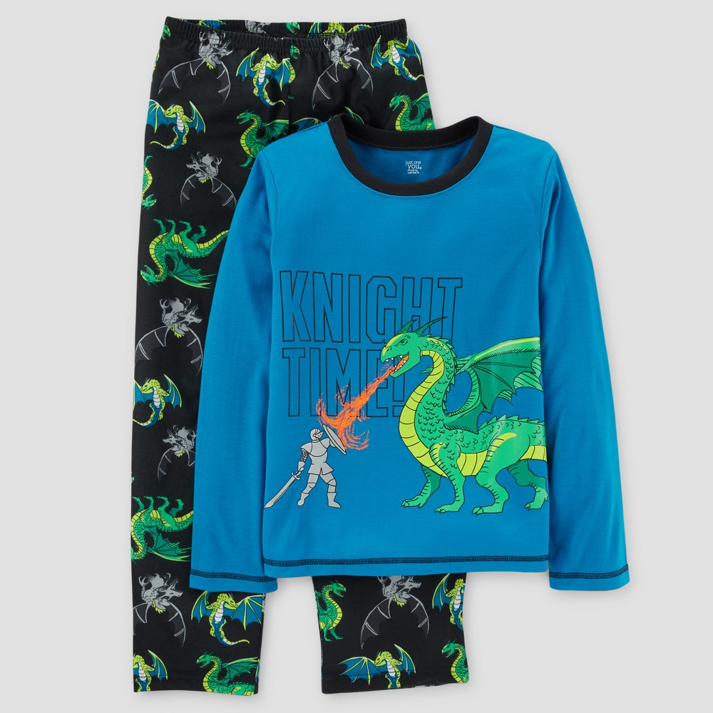 Boys 2pc Long Sleeve Poly Knight Time Dragon Pajama Set - Just One You Made by Carters Java Black 10