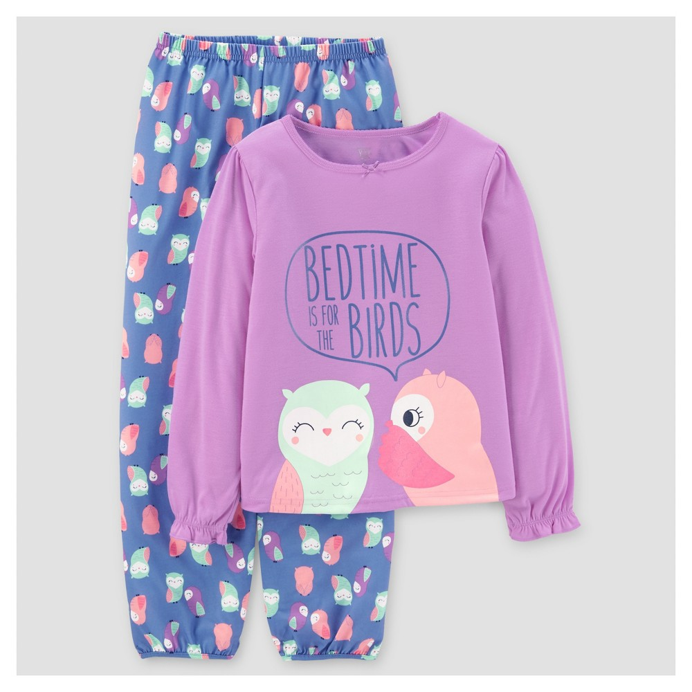 Girls 2pc Long Sleeve Poly Bedtime Birds Pajama Set - Just One You Made by Carters Grape Fizz 8, Purple